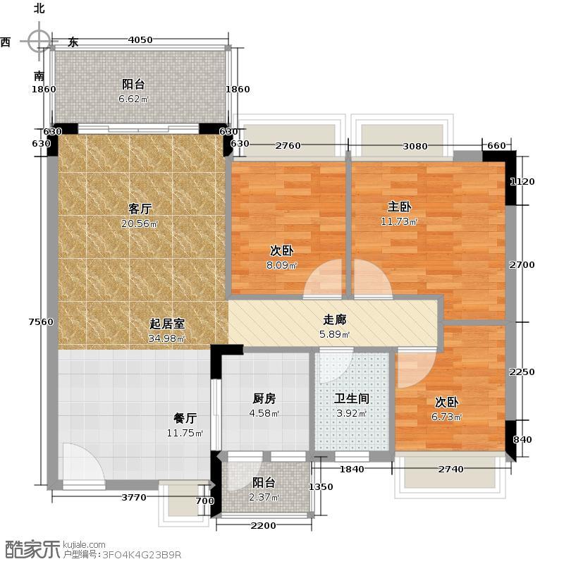 格兰名筑93.96㎡11栋标准层04户型3室1卫1厨
