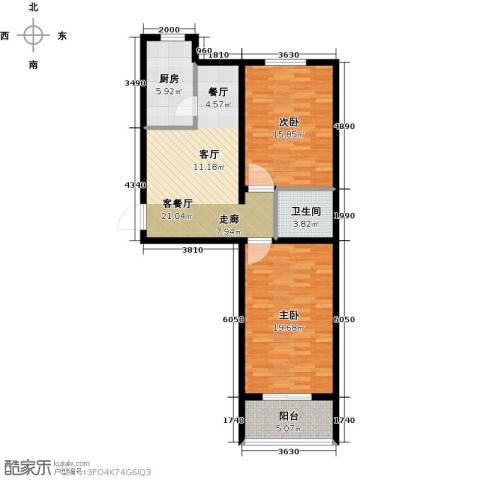 绿都皇城2室2厅1卫0厨80.00㎡户型图