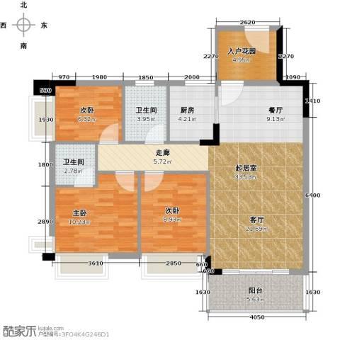 格兰名筑3室0厅2卫1厨93.00㎡户型图