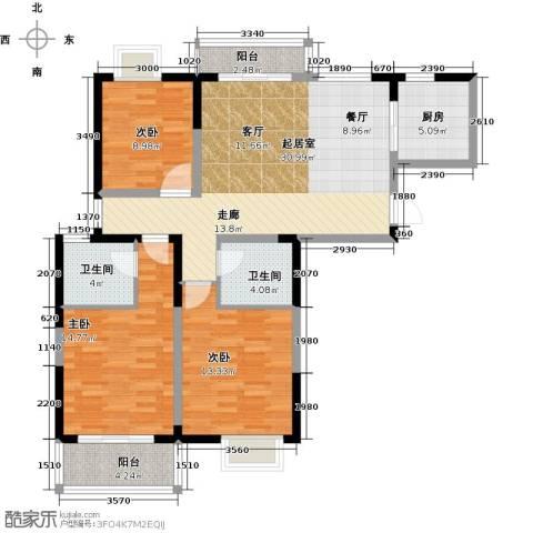 彩虹湖3室2厅2卫0厨133.00㎡户型图