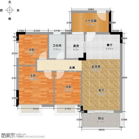 格兰名筑3室0厅1卫1厨98.00㎡户型图