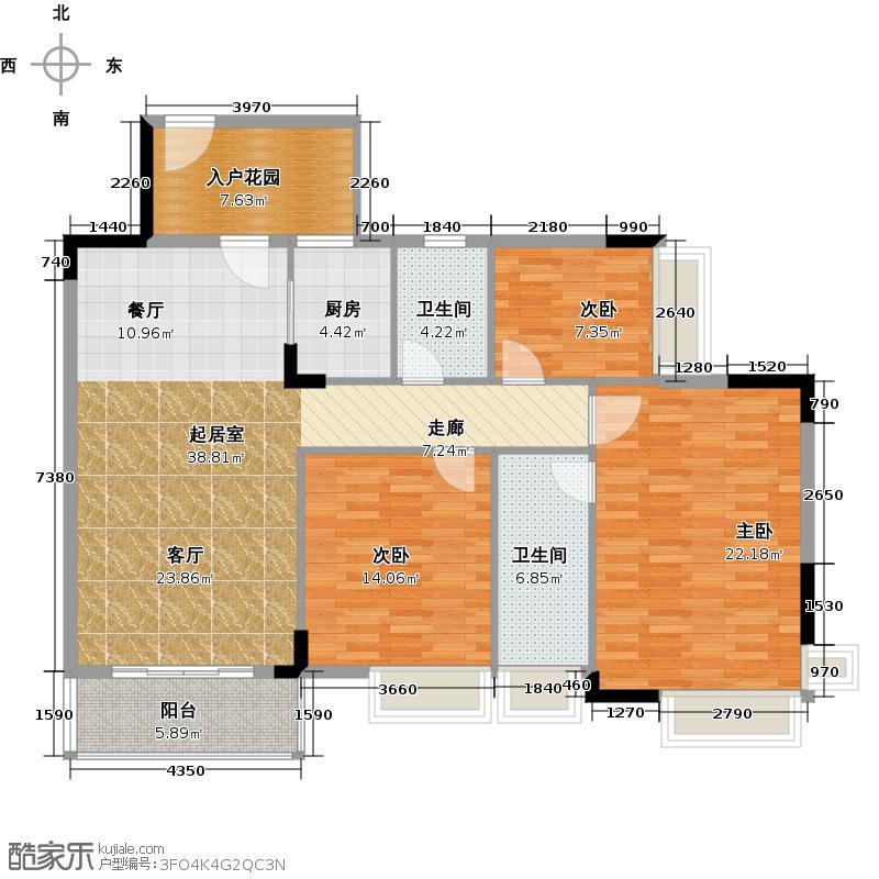 格兰名筑123.83㎡10栋标准层03户型3室2卫1厨