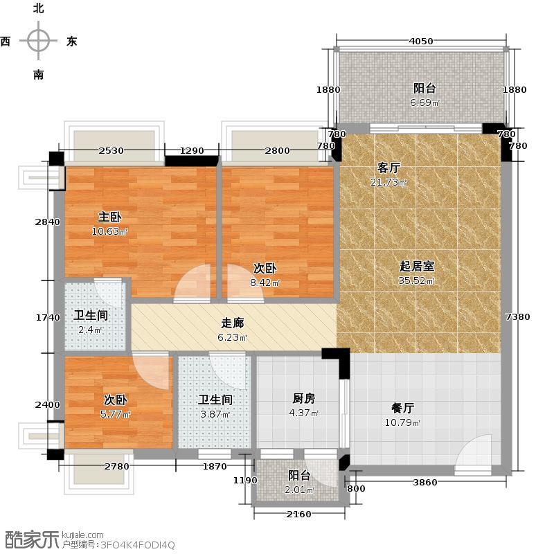 格兰名筑94.50㎡11栋标准层01户型3室2卫1厨