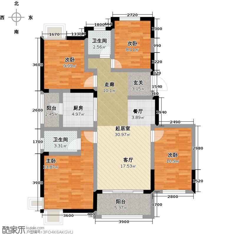 保利心语121.00㎡9期A1户型3室2厅2卫