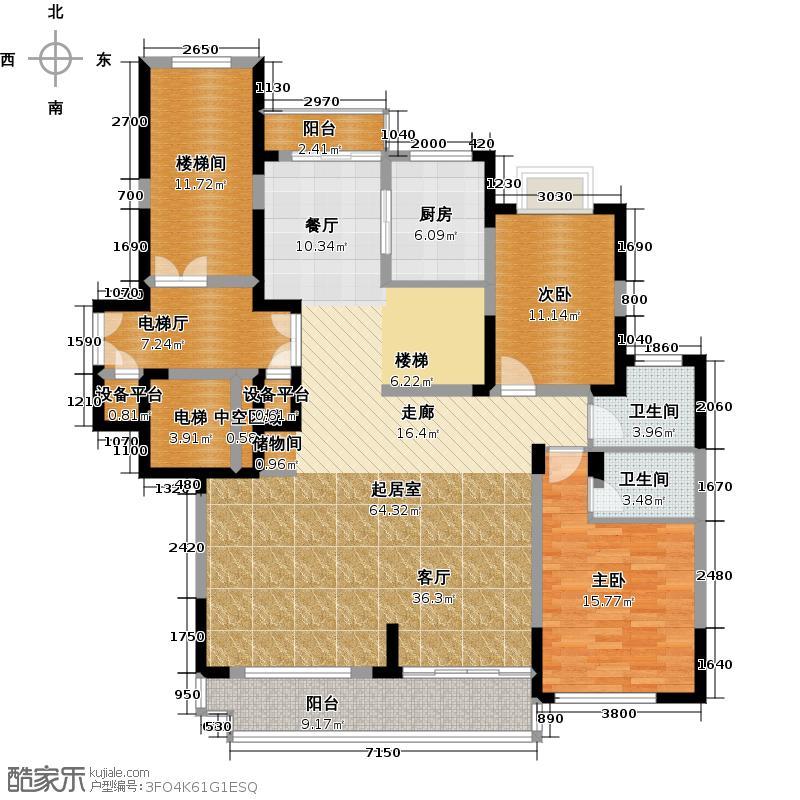 彩虹湖245.00㎡11-16号楼十二层J户型2室2卫1厨