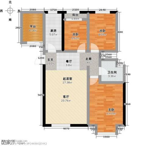 大海鑫庄国际3室2厅1卫0厨97.00㎡户型图