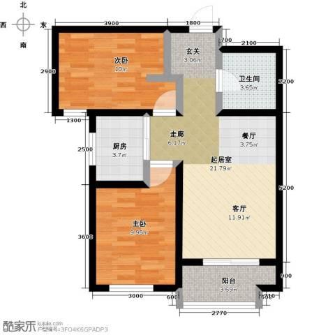 良城国际2室2厅1卫0厨80.00㎡户型图