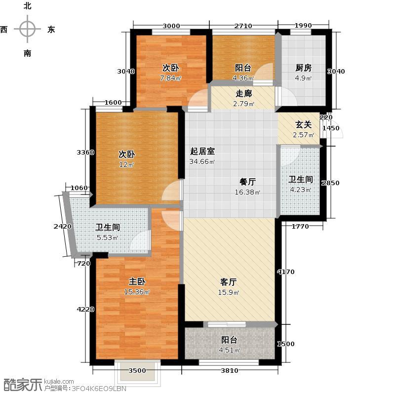 卧龙丽景湾三期127.00㎡4C户型3室2厅2卫