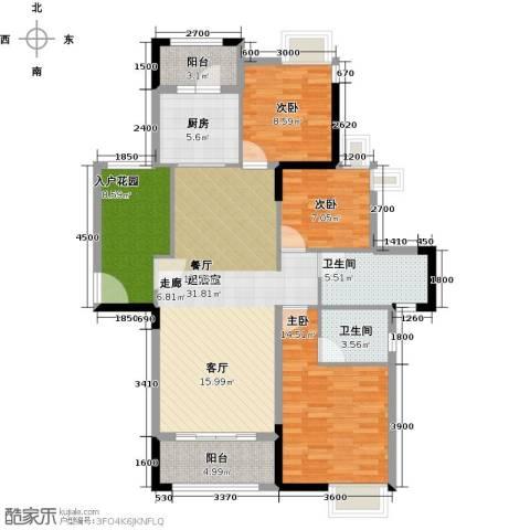 远洋城天祺3室2厅2卫0厨124.00㎡户型图