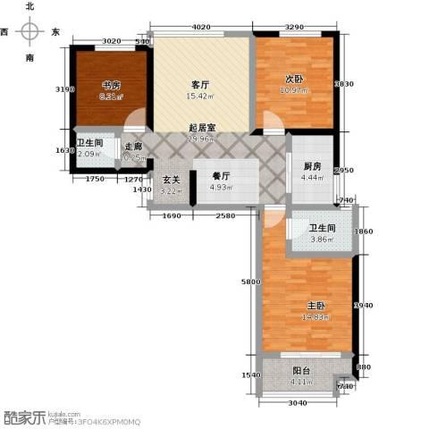 良城国际3室2厅2卫0厨115.00㎡户型图