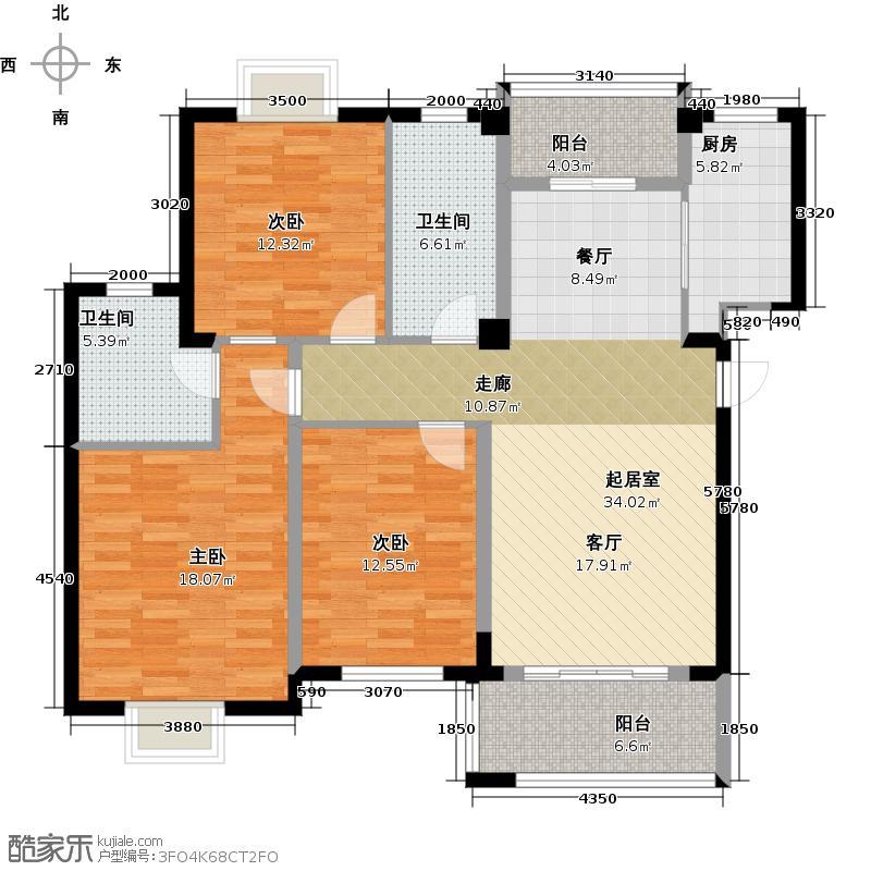卧龙丽景湾三期122.10㎡3D户型3室2厅2卫