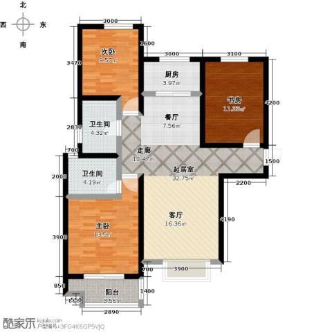 良城国际3室2厅2卫0厨126.00㎡户型图