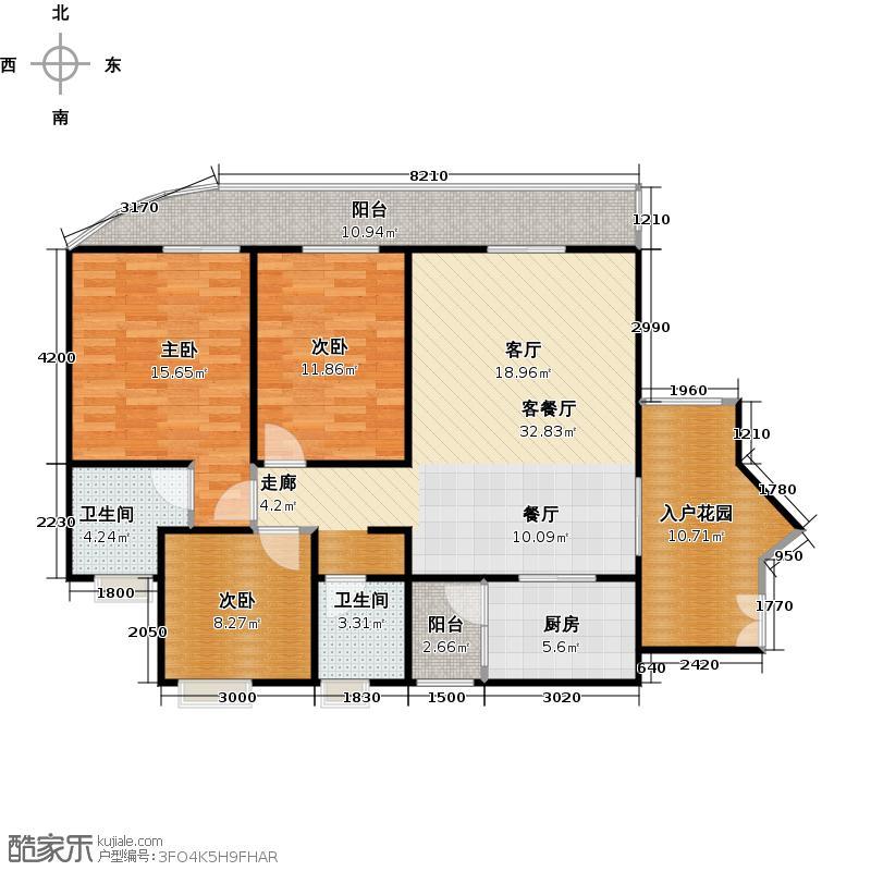 霏红榭119.18㎡2号楼D1-3户型3室2厅2卫
