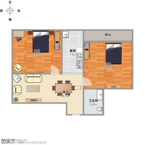 友谊苑2室1厅1卫1厨95.00㎡户型图