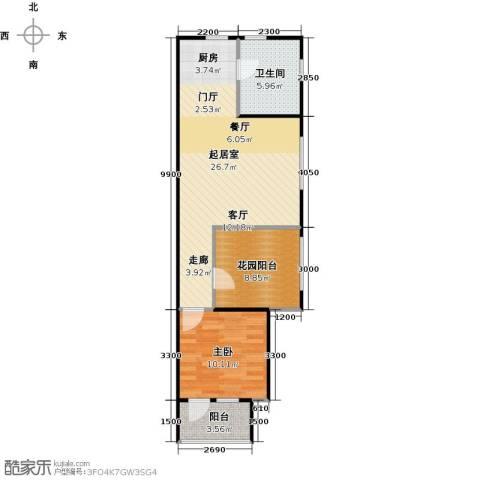 中海紫御公馆1室1厅1卫0厨70.00㎡户型图