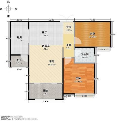 中海紫御公馆2室2厅1卫0厨96.00㎡户型图