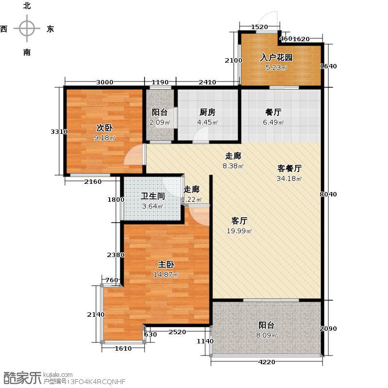 霏红榭87.00㎡小高层C1型户型2室1厅1卫1厨