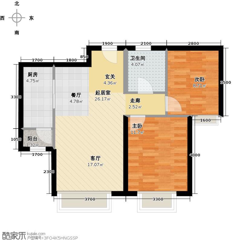远洋城88.19㎡1、2号楼B2户型10室