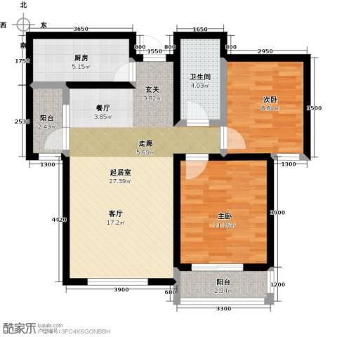良城国际2室2厅1卫0厨91.00㎡户型图