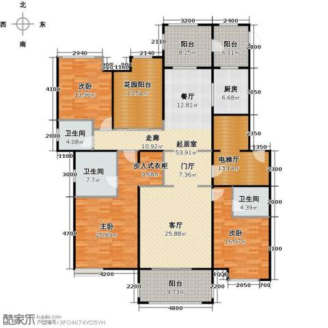 中海紫御公馆3室2厅3卫0厨191.00㎡户型图
