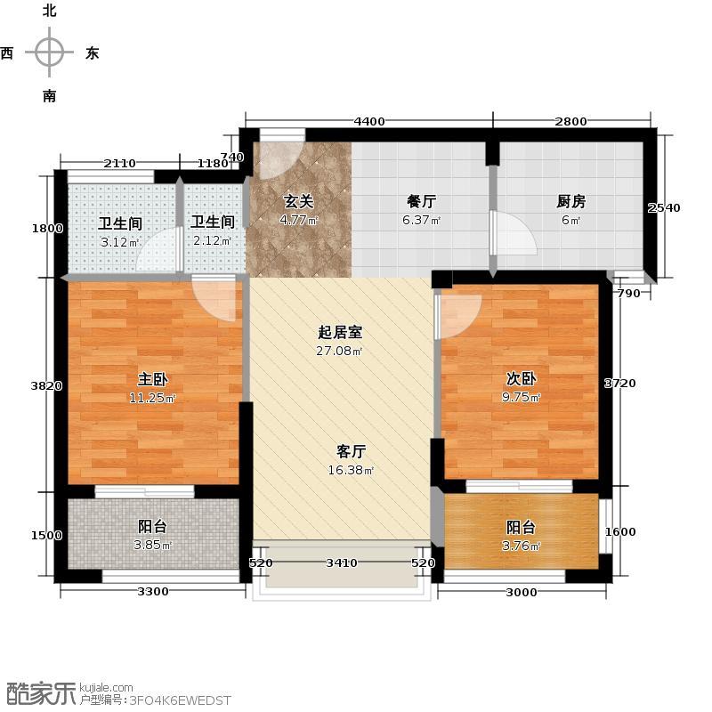 卧龙丽景湾三期90.00㎡5B1户型2室2厅1卫
