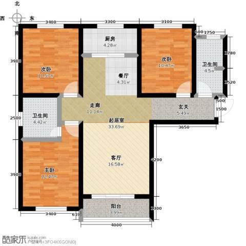 良城国际3室2厅2卫0厨128.00㎡户型图
