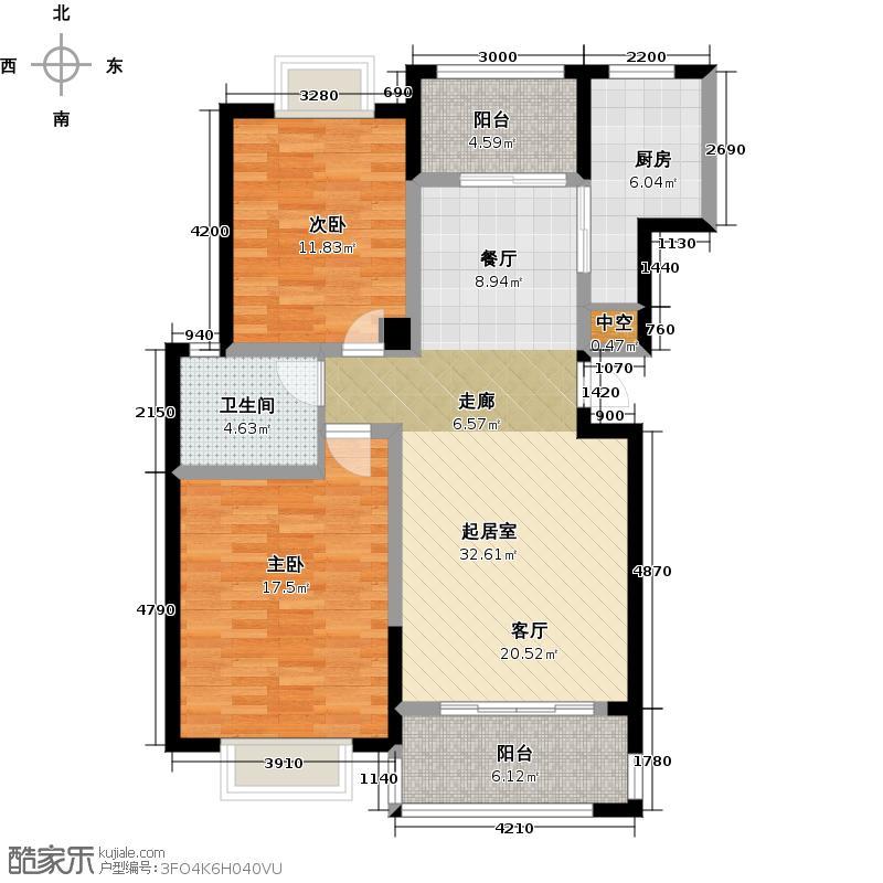 卧龙丽景湾三期105.48㎡2期香山苑2A2户型2室2厅1卫