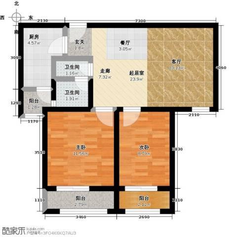 大海鑫庄国际2室2厅1卫0厨83.00㎡户型图