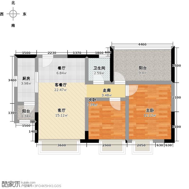 华宇楠苑76.55㎡14栋户型2室1厅1卫1厨