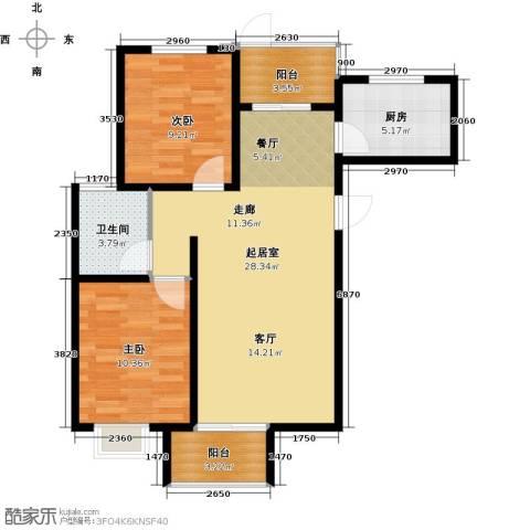 石家庄国风2室2厅1卫0厨91.00㎡户型图