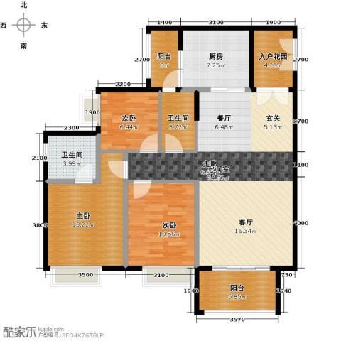 锦江国际新城3室2厅2卫0厨113.00㎡户型图