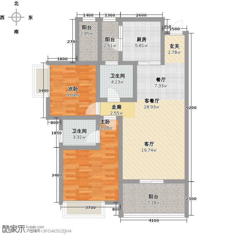 东山国际新城90.55㎡双卫户型10室