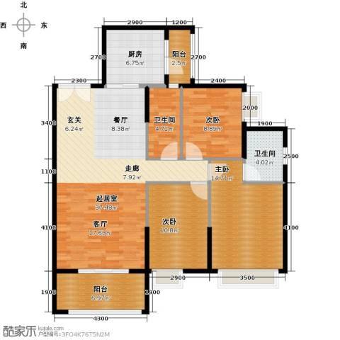 锦江国际新城3室2厅2卫0厨116.00㎡户型图