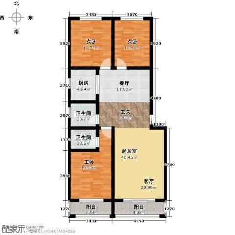 御龙瀚府3室2厅2卫0厨125.00㎡户型图