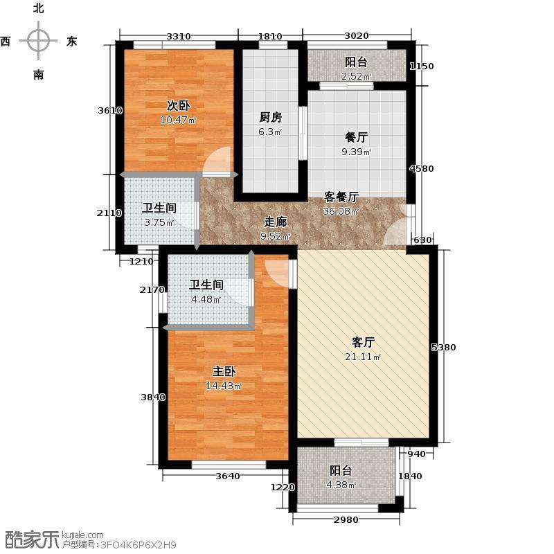 金通桂园94.98㎡E1-5户型2室2厅2卫