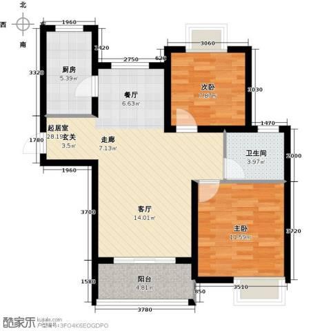 太湖国际社区2室2厅1卫0厨89.00㎡户型图