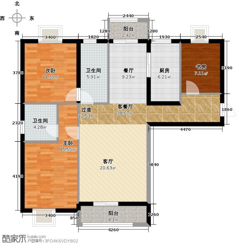 大连海湾城130.19㎡户型3室2厅2卫