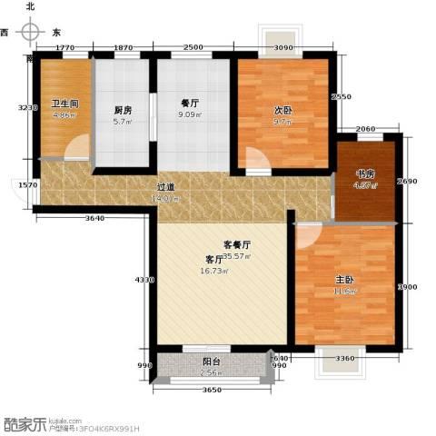 大连海湾城3室2厅1卫0厨107.00㎡户型图