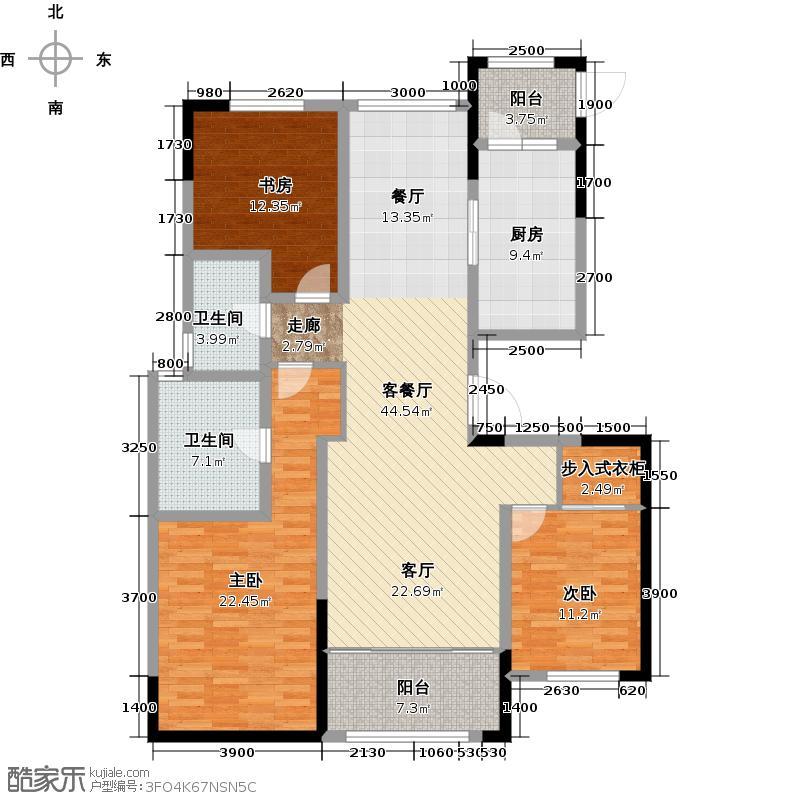 鲁商蓝岸丽舍142.00㎡高层M2户型3室2厅2卫