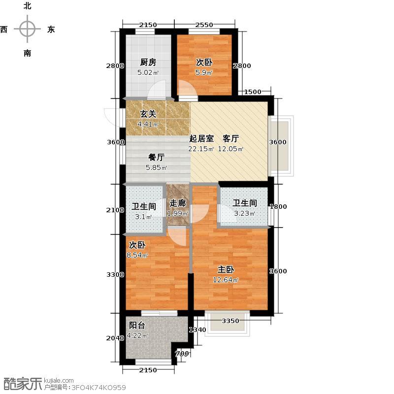 广宇锦绣桃源90.00㎡C2户型3室2厅2卫