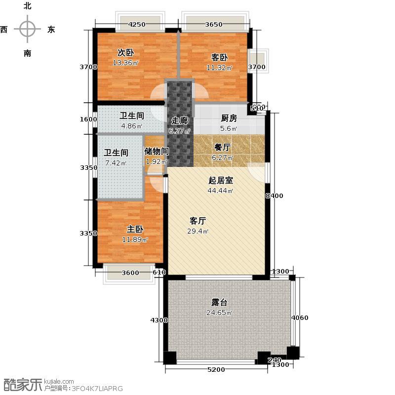 万科双月湾132.62㎡B三层户型10室