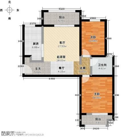 大海鑫庄国际2室2厅1卫0厨85.00㎡户型图