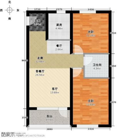 韩建大成府2室2厅1卫0厨84.00㎡户型图
