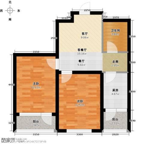韩建大成府2室2厅1卫0厨68.00㎡户型图