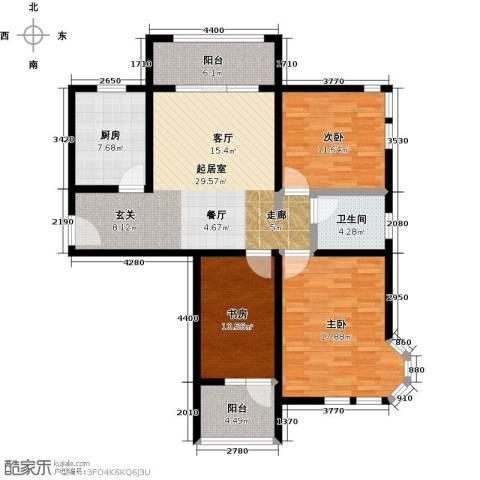 大海鑫庄国际3室2厅1卫0厨106.00㎡户型图