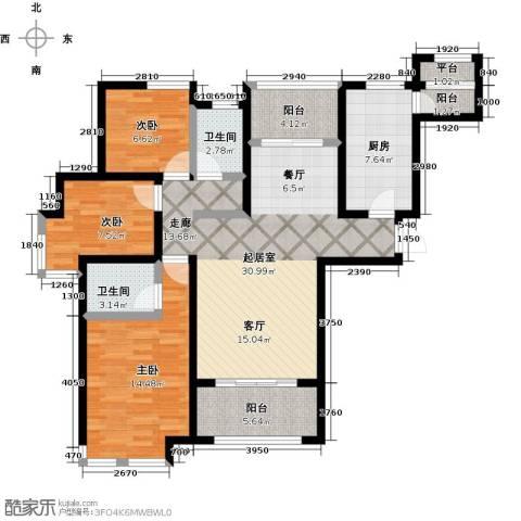 大海鑫庄国际3室2厅2卫0厨129.00㎡户型图