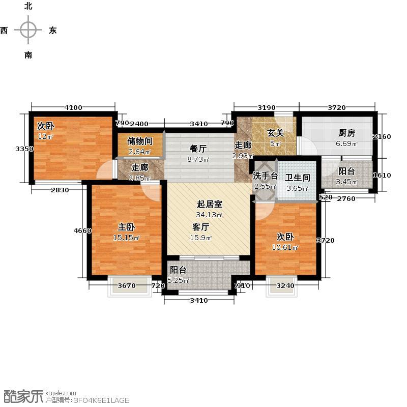 新里梵尔赛公馆108.00㎡户型3室2厅1卫