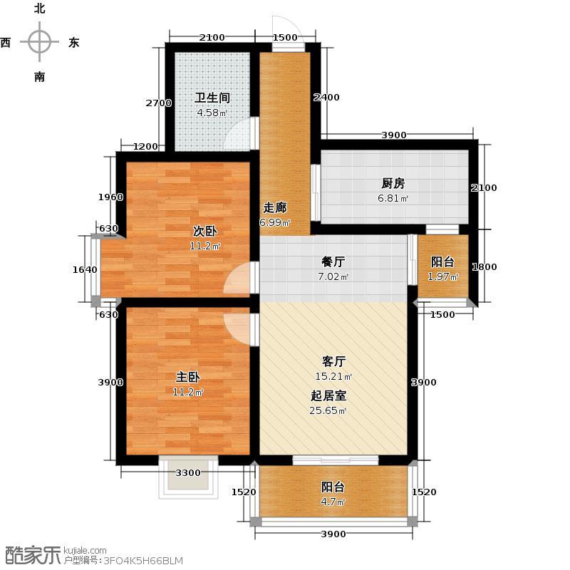 瑞丰新欣城86.00㎡D1户型2室2厅1卫