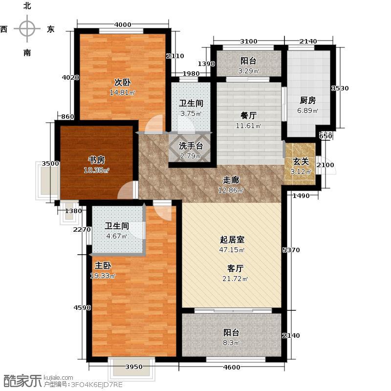 新里梵尔赛公馆130.00㎡户型3室2厅2卫