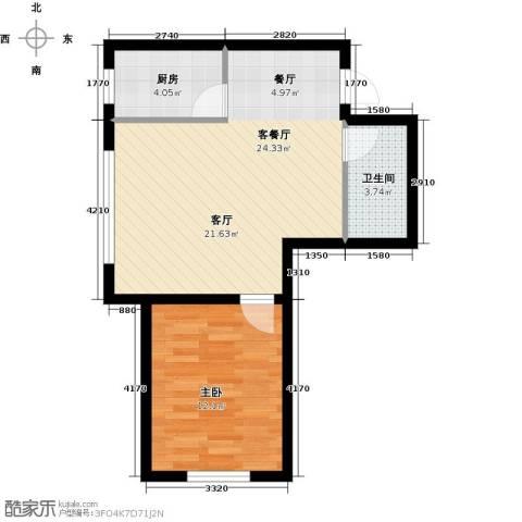 韩建大成府1室2厅1卫0厨64.00㎡户型图